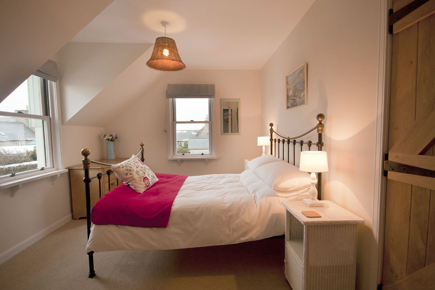 The double bedroom at Rosebay Cottage, Findhorn