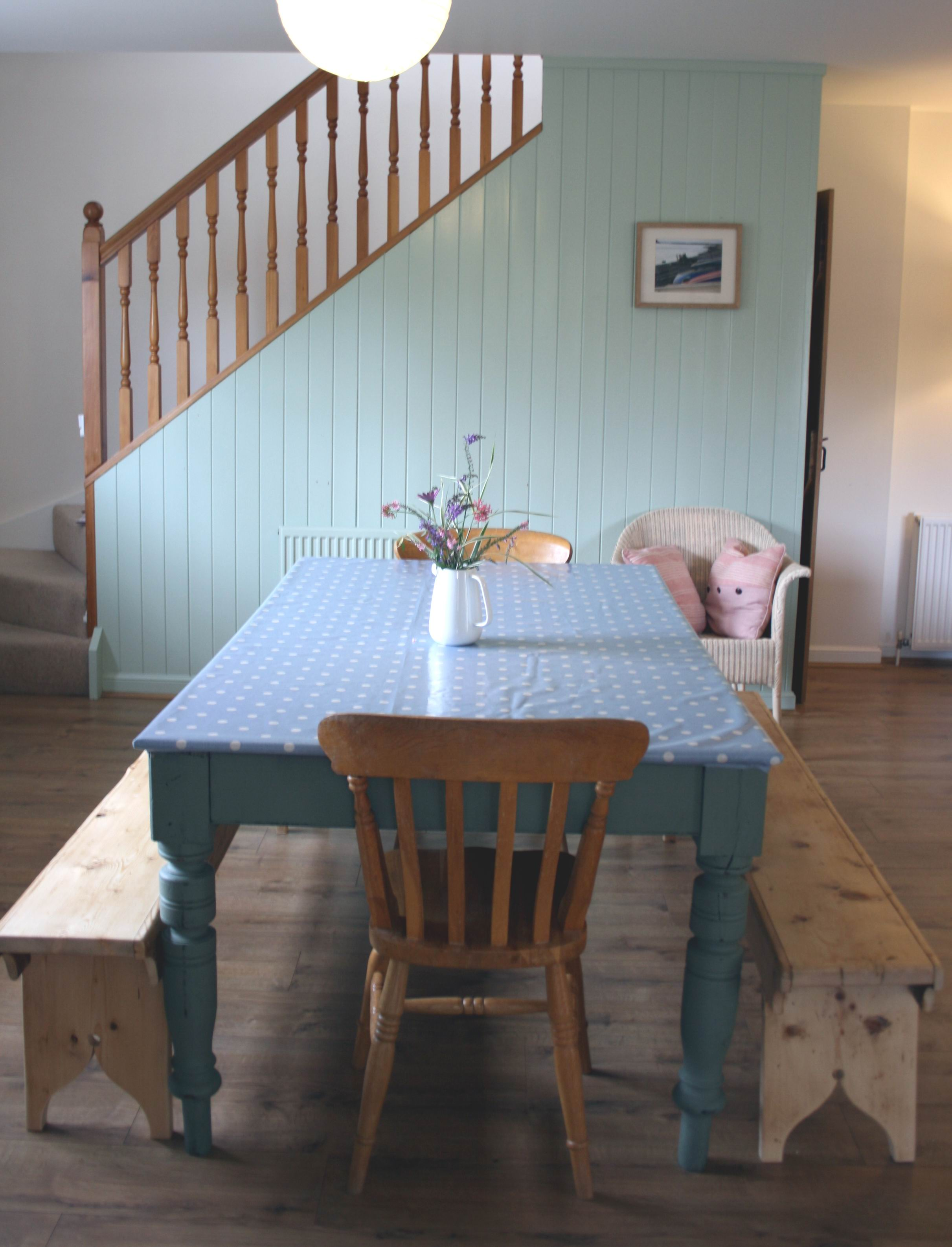 The dining area at Rosebay Cottage, Findhorn